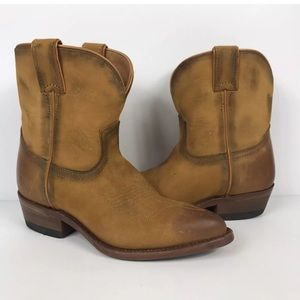Frye Western Billy Short Ankle Boots Distressed